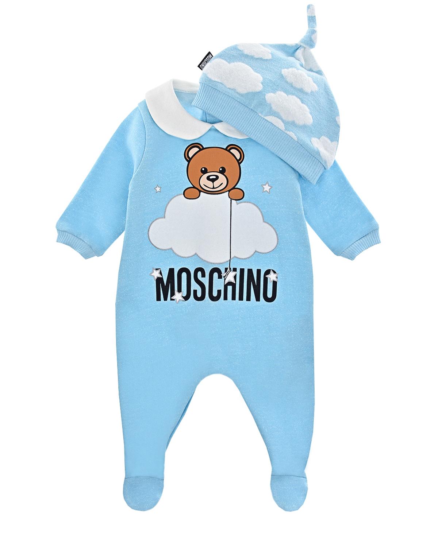 Купить Подарочный набор с комбинезоном и шапкой, голубой Moschino детский, Голубой, 100% хлопок, 95% хлопок+5% эластан