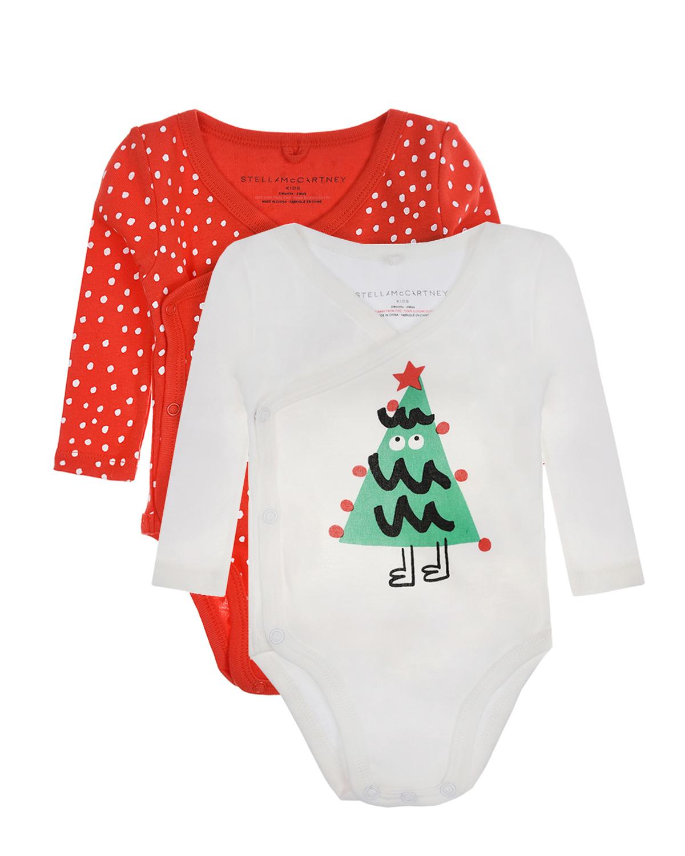 Купить Комплект из двух боди с принтом Новогодняя елка Stella McCartney детский, Мультиколор, 100%хлопок