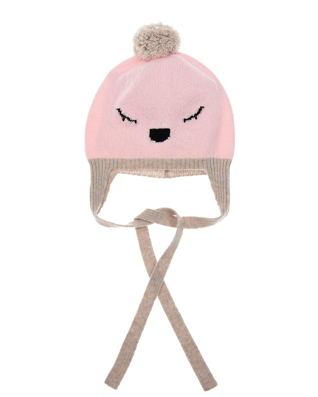 Купить Розовая шапка с декором лиса Tomax детская, Розовый, 90%шерсть мериносов+10%кашемир