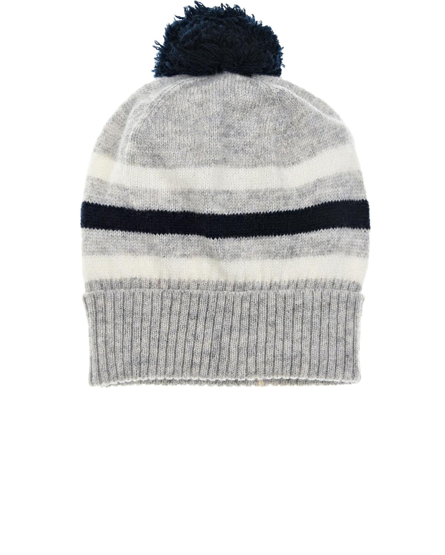 Купить Серая шапка из кашемира в полоску Tomax детская, Серый, 100%кашемир