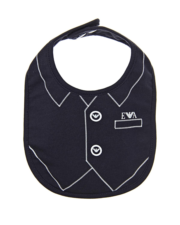 Слюнявчик с имитацией жилетки Emporio Armani детский синего цвета