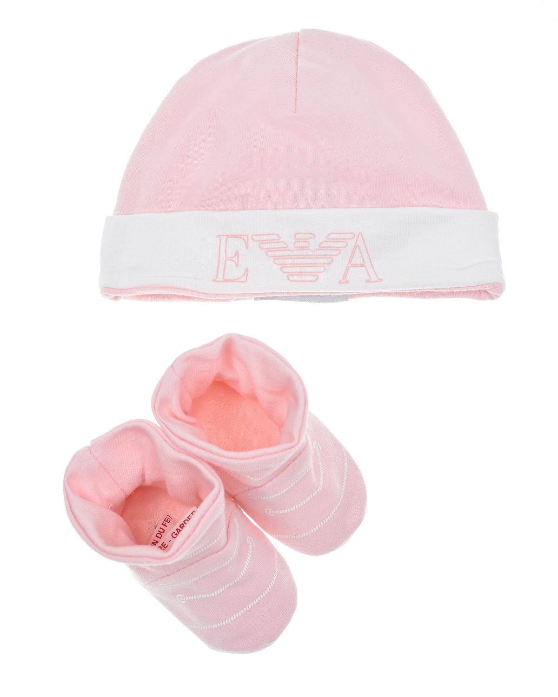 Розовый комплект из шапки и пинеток Emporio Armani детский, 100%хлопок  - купить со скидкой