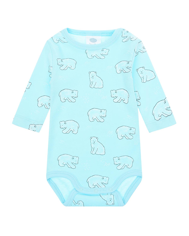 Купить Голубое боди с принтом Белые мишки Sanetta детское, Голубой, 100%хлопок