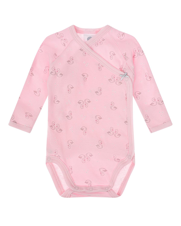 Купить Розовое боди с принтом Лебеди Sanetta детское, Розовый, 100%хлопок