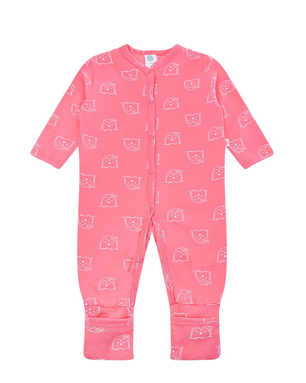 Купить Розовый комбинезон с принтом Пингвины Sanetta детский, 100%хлопок