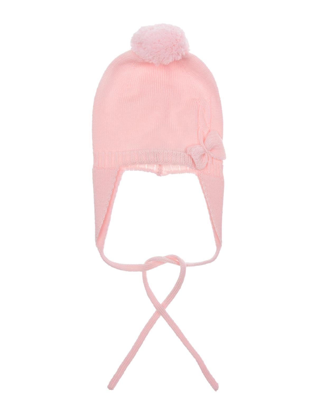 Купить Шерстяная шапка с бантом Tomax детская, Розовый, 100%шерсть