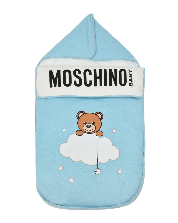 """Голубой конверт с принтом """"Мишка с облаком"""" Moschino детский Голубой конверт с принтом """"Мишка с облаком"""" Moschino д голубого цвета"""