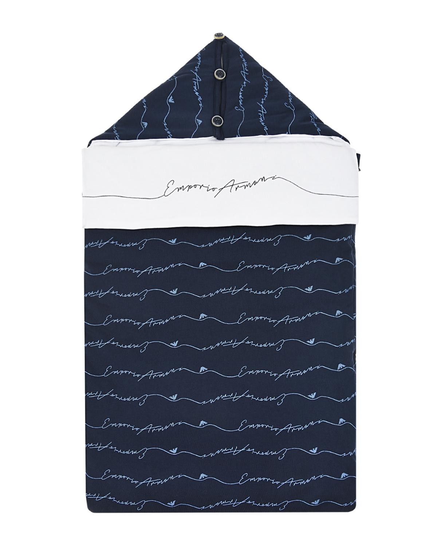 Синий конверт на синтепоне со сплошным принтом логотипа Emporio Armani детский синего цвета