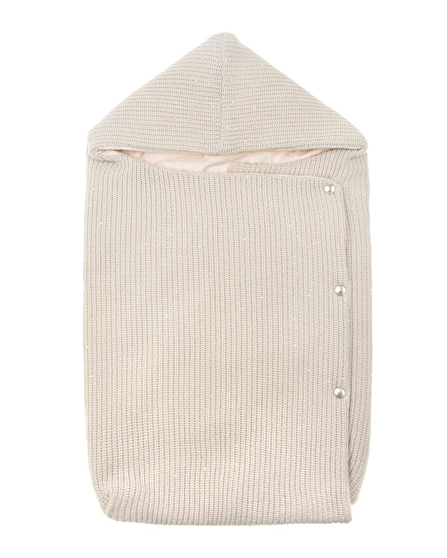 Вязаный конверт на кнопках Brunello Cucinelli детский кремового цвета