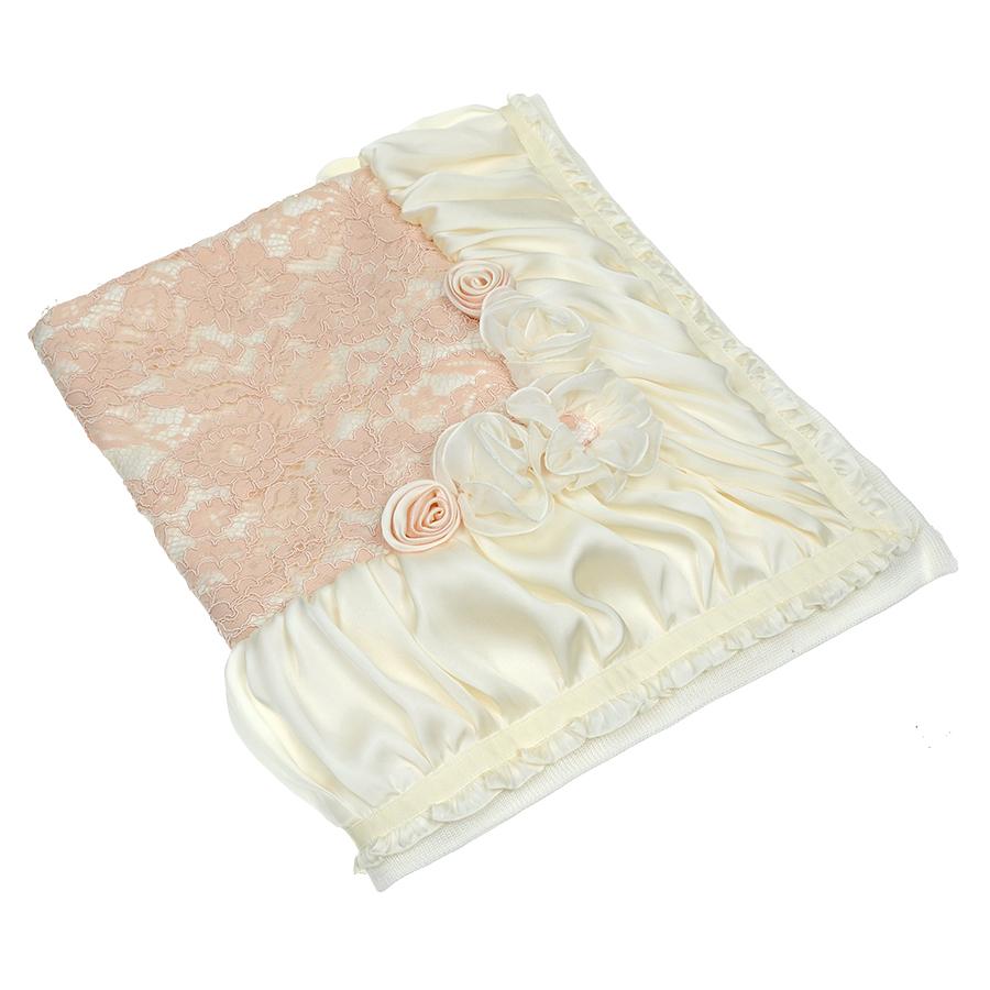Плед Ladia сплошное розовое кружево, атласная окантовка