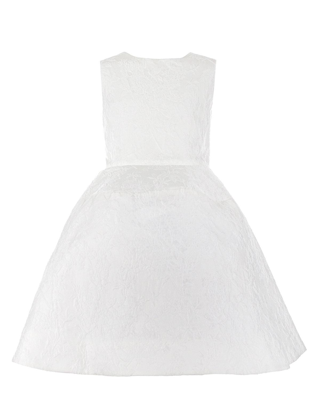Платье Oscar de la RentaПлатья, Сарафаны<br>Белое жаккардовое платье Oscar de la Renta. Модель отрезная по линии талии, с пышной юбкой, круглым вырезом, без рукавов. Платье декорировано цветочным узором в тон. Застегивается на спине на потайную молнию.