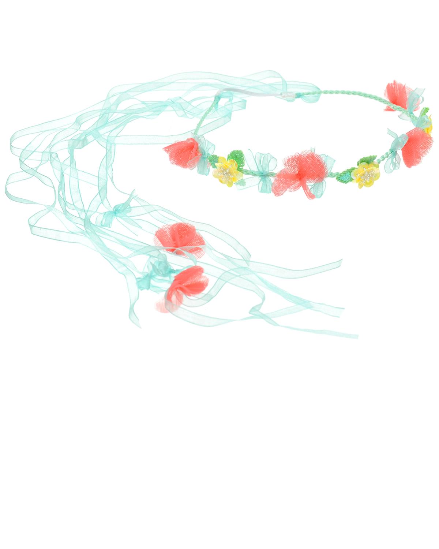 Ободок с отделкой из цветов и лентОбодки, заколки, резинки<br>Изысканный ободок Aletta украсит прическу маленькой модницы. Модель украшена цветами и бантами. Тонкая плетеная основа дополнена сзади эластичной вставкой и лентами.