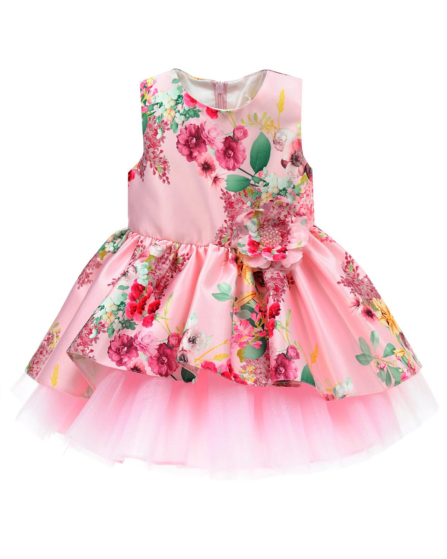Платье с пышной юбкойПлатья, Сарафаны<br>Розовое отрезное по талии платье David Charles из хлопковой ткани с цветочным принтом. Топ с круглым вырезом, без рукавов, застегивается на потайную молнию на спине. Юбка пышная, двухслойная. Верхний слой выполнен из основного материала, нижний из розового тюля. Талия декорирована объемным текстильным цветком.