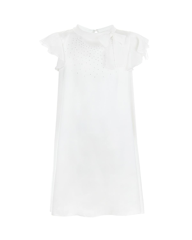 Купить Платье с декором из страз Aletta детское, Белый, 92%вискоза+8%эластан, 97%полиэстер+3%эластан, 100%полиэстер