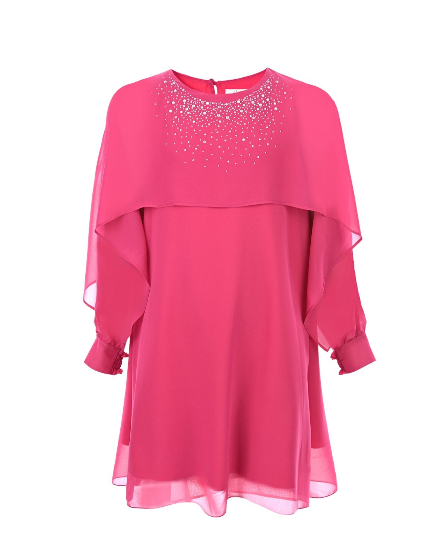 Купить Розовое многослойное платье с пелериной Aletta детское, Розовый, 100%полиэстер, 92%вискоза+8%эластан
