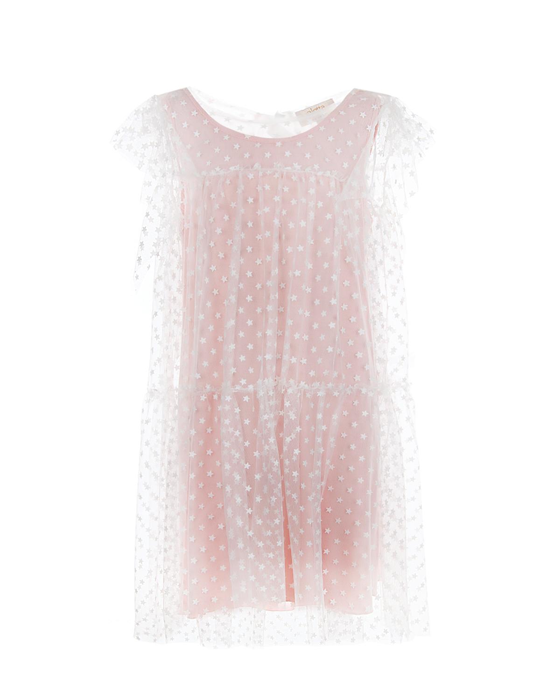 Купить Многослойное платье с контрастной подкладкой Aletta детское, Бежевый, 96%вискоза+4%эластан, 100%полиэстер