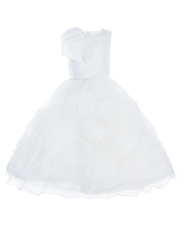 Белое шелковое платье с розами из лент Ladia детское фото