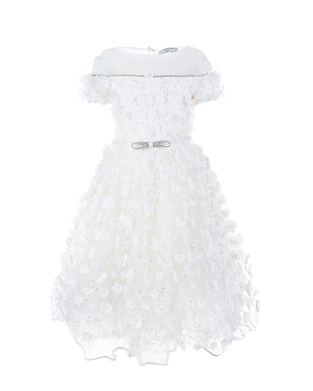 Платье с пышной юбкой и аппликациями Monnalisa