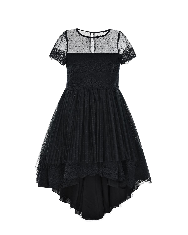 Купить Черное платье с кружевной отделкой Aletta детское, Черный, 100%хлопок, 100%полиамид