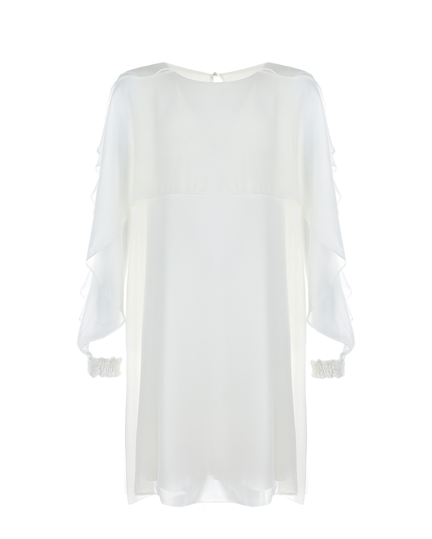 Купить Белое платье с оборками Aletta детское, Белый, 94%вискоза+6%эластан, 100%полиэстер