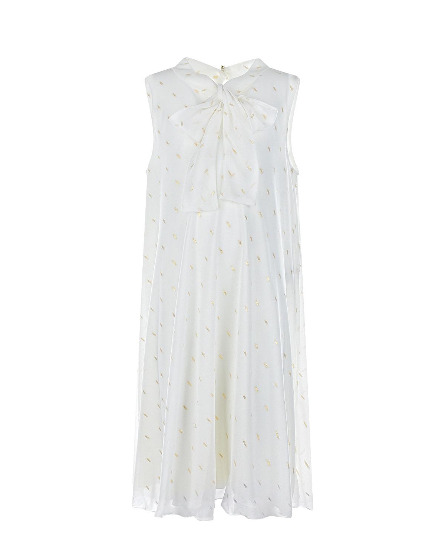 Купить Белое платье с золотистой вышивкой Aletta детское, Белый, 94%вискоза+6%эластан, 100%полиэстер