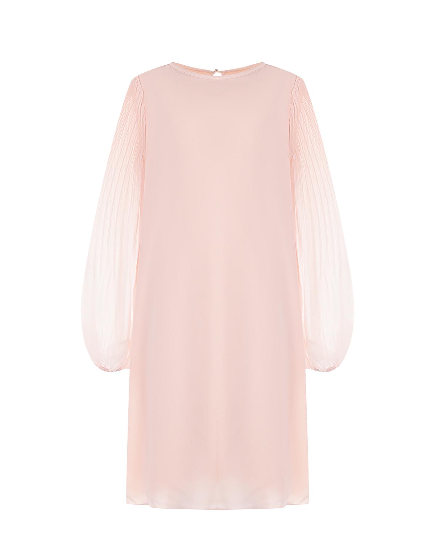 Купить Розовое платье с плиссироваными рукавами Aletta детское, Розовый, 92%вискоза+8%эластан, 100%полиэстер