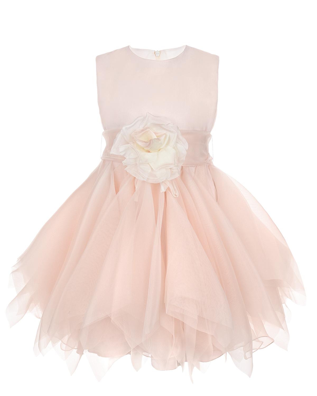 Розовое платье с многослойной юбкой CAF детское фото