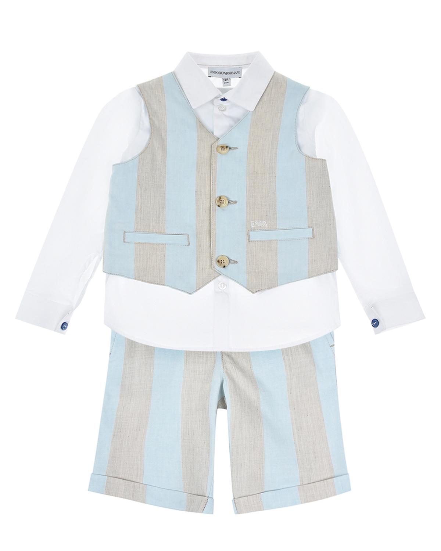 Купить Комплект: рубашка, жилет и шорты Emporio Armani детский, Мультиколор, 44%лен+38%полиэстер+16%вискоза+2%эластан, 75%хлопок+22%полиамид+3%эластан, 64%вискоза+36%полиэстер