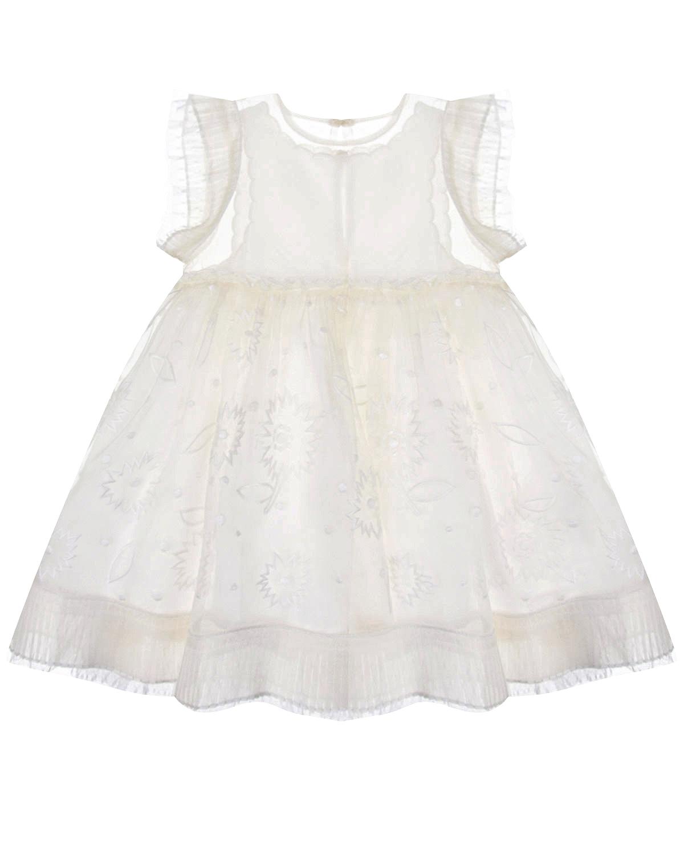 Купить Белое платье с вышивкой Stella McCartney детское, Белый, 100%полиэстер, 100%вискоза, 100%шелк