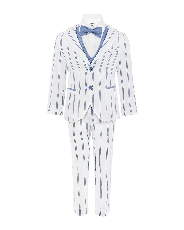 Купить Нарядный костюм для мальчика из 4-х деталей Baby A детский, Мультиколор, 68%лен+32%полиэстер, 100%хлопок, 100%вискоза, 100%рами