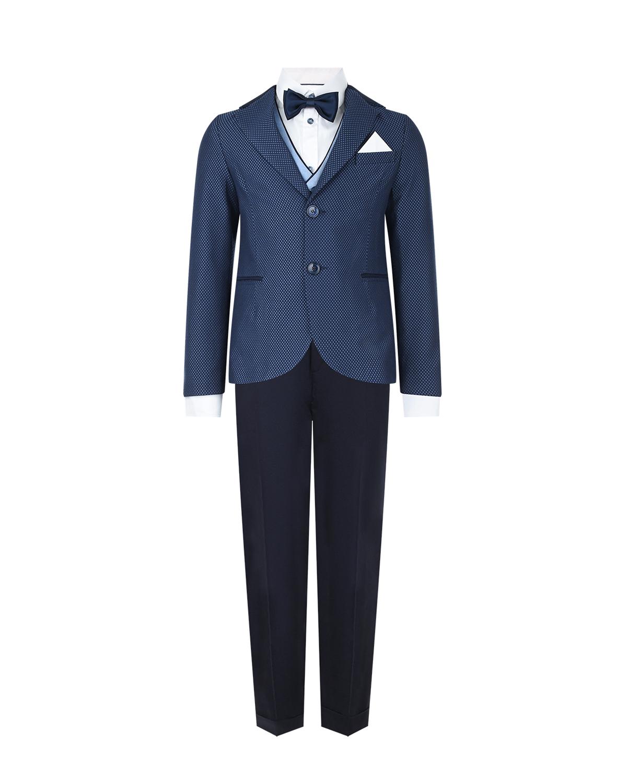 Купить Комплект: пиджак, жилет, рубашка с бабочкой и брюки Clix детский, Мультиколор, 50%хлопок+28%полиэстер+22%полиамид, 100%хлопок, 100%полиэстер, 68%лен+32%полиэстер, 97%хлопок+3%эластан