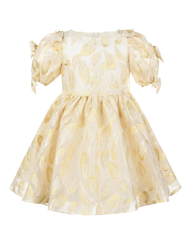 Купить Золотистой платье с вышивкой David Charles детский, Белый, 88% полиэстер+12% металл, 100% хлопок