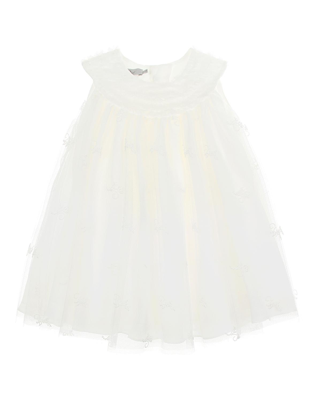 Купить Белое платье с рюшами на кокетке Dior детское, Белый, 100% полиамид