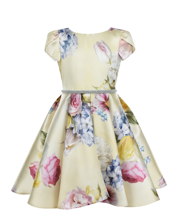 Золотистое платье с цветочным принтом Monnalisa детское фото