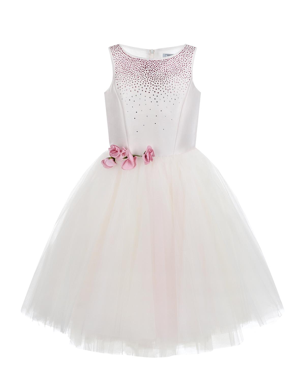 Кремовое платье с розовыми стразами Monnalisa детское фото