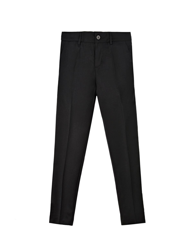 Купить Черные брюки с лампасами в тон Paul Smith детские, Черный, 56% ацетат+44%вискоза, 70% ацетат+26% полиамид+4% эластан, 100% шерсть
