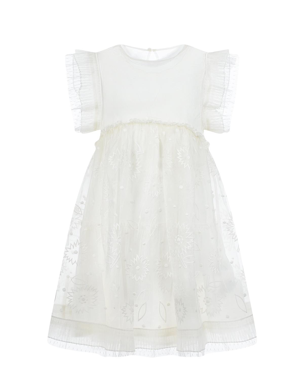 Купить Белое платье с цветочной вышивкой Stella McCartney детское, Белый, 100%полиэстер, 100%хлопок