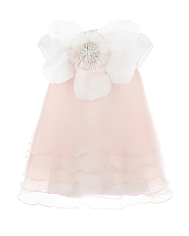 Бело-розовое платье с декоративным цветком CAF детское
