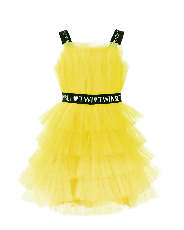Купить Желтое многослойное платье TWINSET детское, Желтый, 100%полиэстер, 92%полиэстер+8%эластан, 95%вискоза+5%эластан. 100%хлопок, 45%полиэстер+30%полиамид+25%эластан