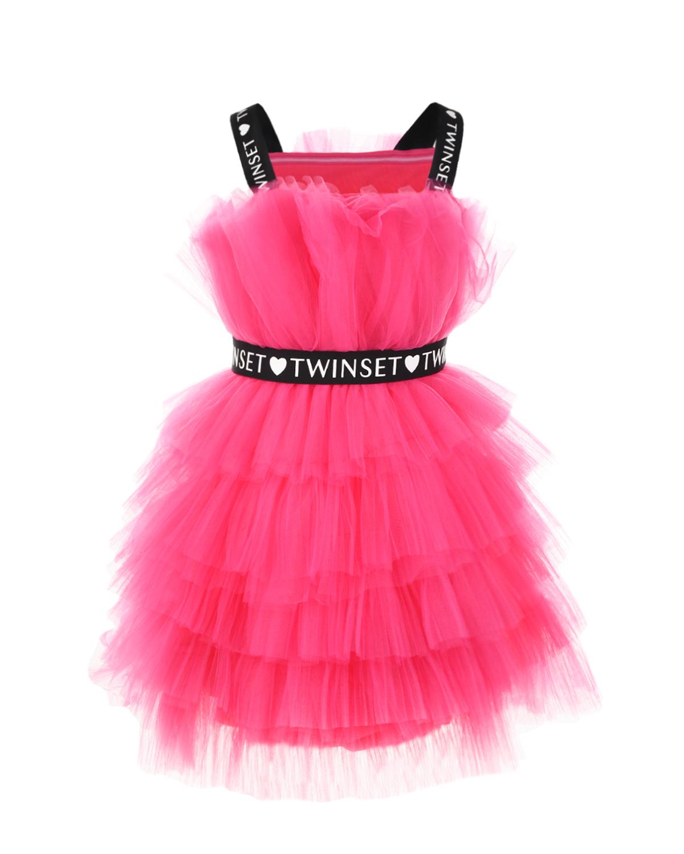Купить Многослойное платье цвета фуксии TWINSET детское, Нет цвета, 100%полиэстерю 92%полиэстер+8%эластан, 95%вискоза+5%эластан, 100%хлопок. 45%полиэстер+30%полиамид+25%эластан
