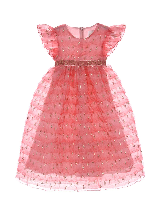 Купить Платье кораллового цвета с рукавами-крылышками Eirene детское, Нет цвета, 100%полиэстер, 100%хлопок