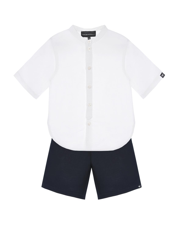 Купить Комплект: белая рубашка + черные бермуды Emporio Armani детский, Мультиколор, 54%лен+46%вискоза, 65% полиэстер+35% хлопок