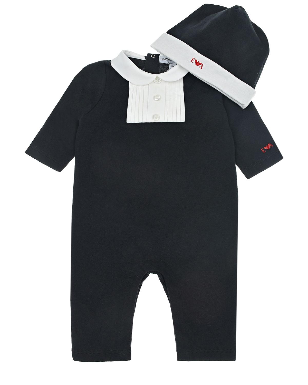 Купить Подарочный набор из нарядного комбинезона и шапки Emporio Armani детский, Черный, 100%хлопок, 96%хлопок+4%эластан