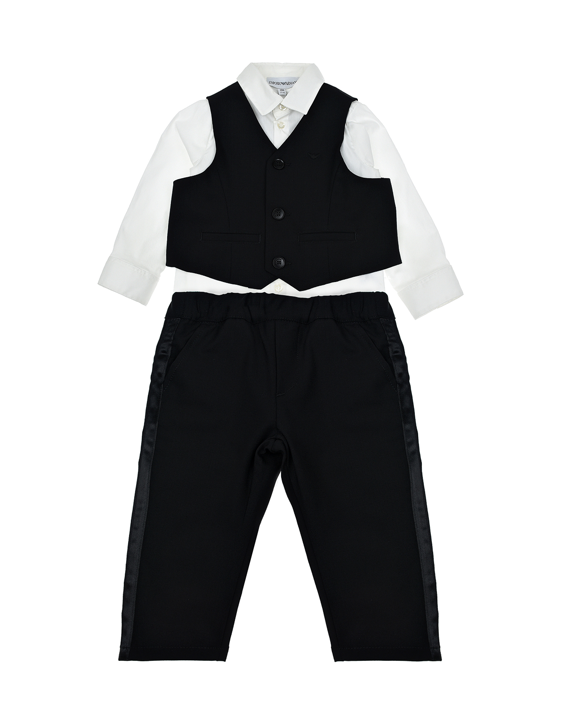 Купить Комплект: брюки, рубашка и жилет Emporio Armani детский, Мультиколор, 96%шерсть+4%эластан, 100%полиэстер, 64%вискоза+36%полиэстер, 75%хлопок+22%полиамид+3%эластан