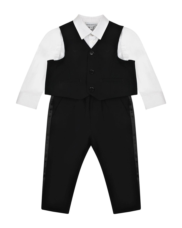 Купить Комплект: брюки, рубашка и жилет Emporio Armani детский, Нет цвета, 96%шерсть+4%эластан, 100%полиэстер, 62%ацетат+38%полиэстер, 75%хлопок+22%полиамид+3%эластан