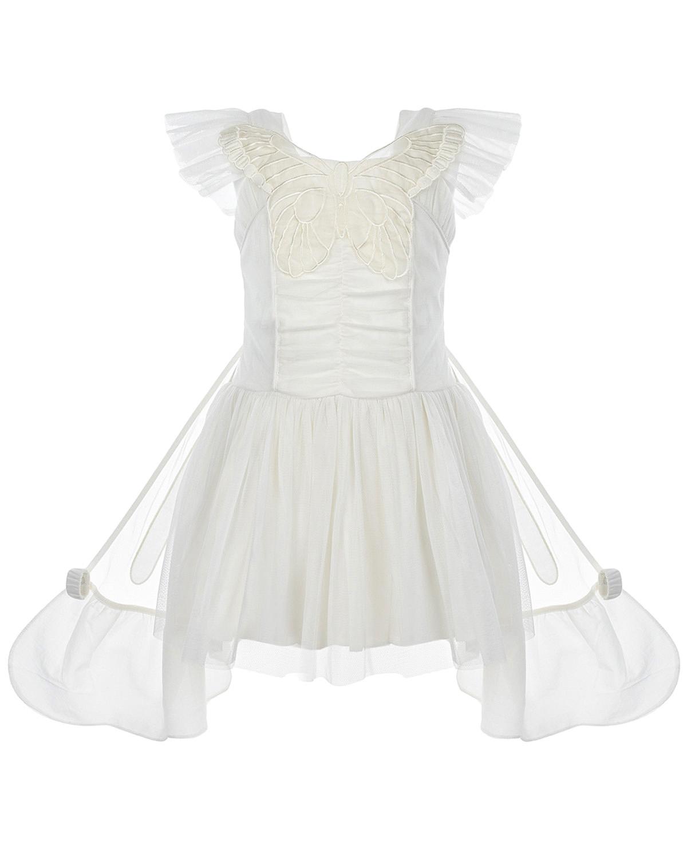 Купить Кремовое платье с аппликацией Бабочка Stella McCartney детское, Кремовый, 100%полиэстер, 100%хлопок, 100%шелк