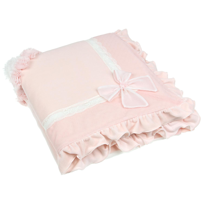 Одеяло Ladia Chic  розовый велюр, объемное сердце из лент, цветыОдеяла<br><br>