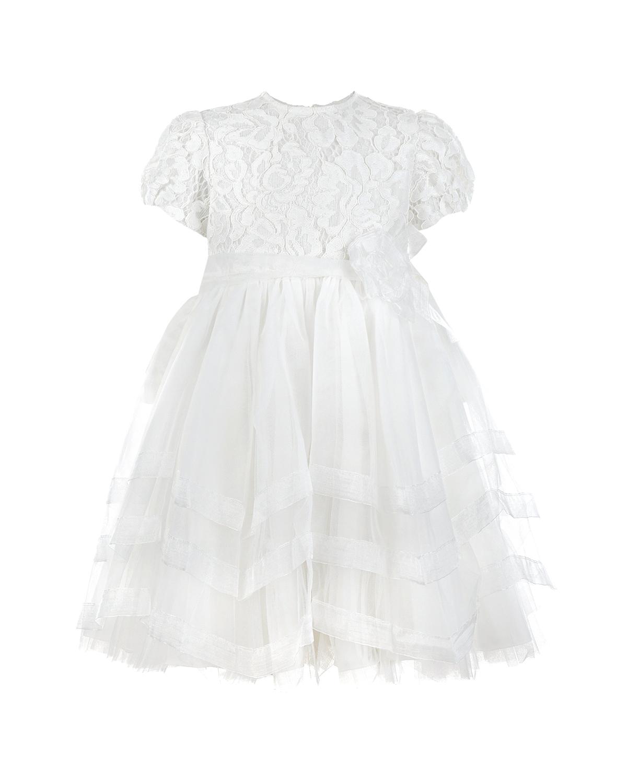 Купить Белое платье с кружевным верхом и юбкой из органзы Aletta детское, Кремовый, 100%хлопок, 66%полиамид+27%нейлон+7%вискоза