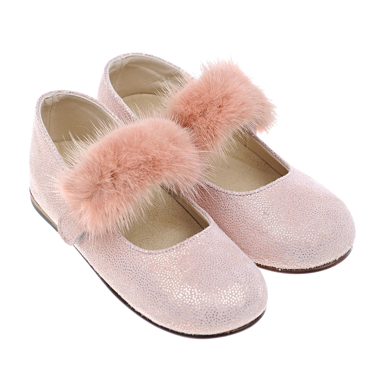 Купить Розовые туфли с меховой отделкой Baby Walker детские, Розовый, верх-нат.кожа, мех норки. подкладка-полимерные материалы, подошва-полимерные материалы