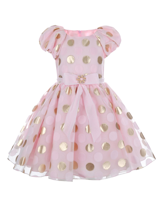 Нарядное платье розового цвета с принтом горох David Charles детское фото
